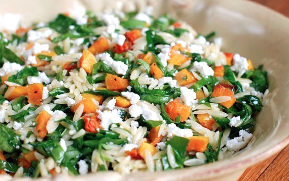 Orzo with Spinach, Butternut Squash and Blue Cheese